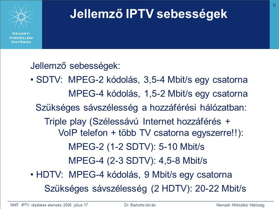 6 NHIT IPTV részletes elemzés 2006. július 17. Dr. Bartolits István Nemzeti Hírközlési Hatóság Jellemző IPTV sebességek • Bár nem tudja mi az, de mive