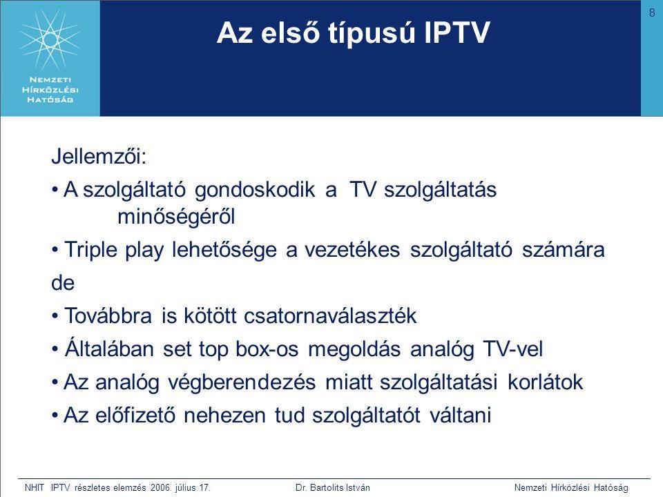 8 NHIT IPTV részletes elemzés 2006. július 17. Dr. Bartolits István Nemzeti Hírközlési Hatóság Az első típusú IPTV • Bár nem tudja mi az, de mivel a h