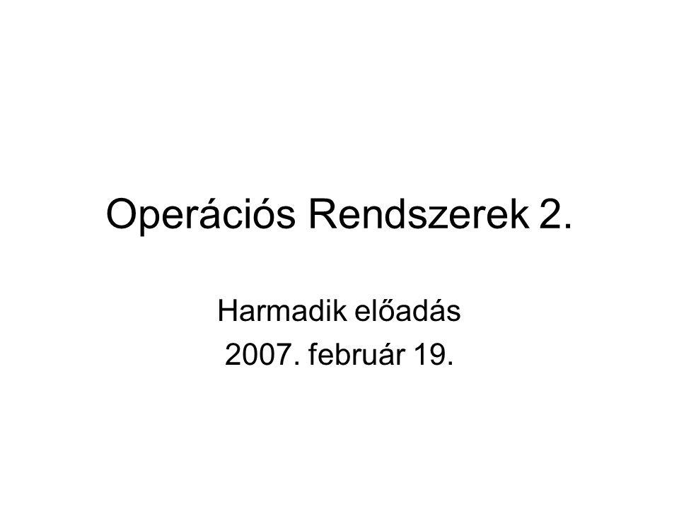 Operációs Rendszerek 2. Harmadik előadás 2007. február 19.