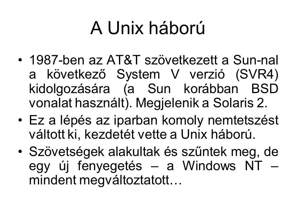 A Unix háború •1987-ben az AT&T szövetkezett a Sun-nal a következő System V verzió (SVR4) kidolgozására (a Sun korábban BSD vonalat használt).