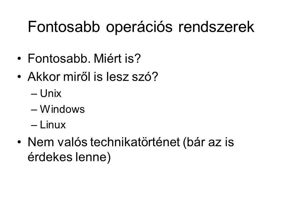 Fontosabb operációs rendszerek •Fontosabb. Miért is.