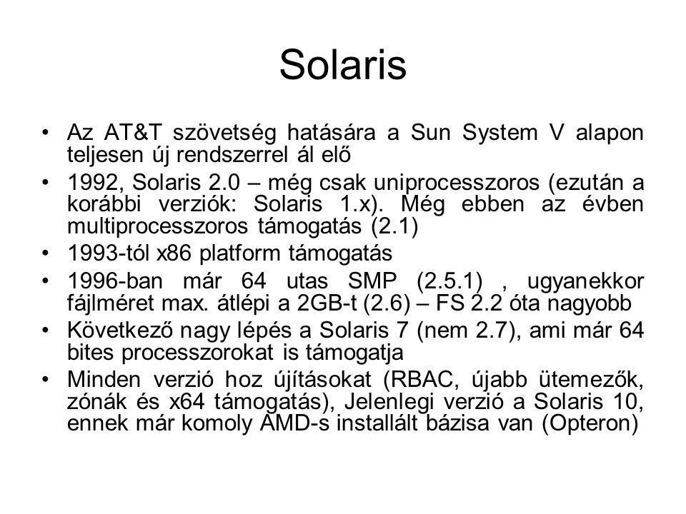 Solaris •Az AT&T szövetség hatására a Sun System V alapon teljesen új rendszerrel ál elő •1992, Solaris 2.0 – még csak uniprocesszoros (ezután a korábbi verziók: Solaris 1.x).