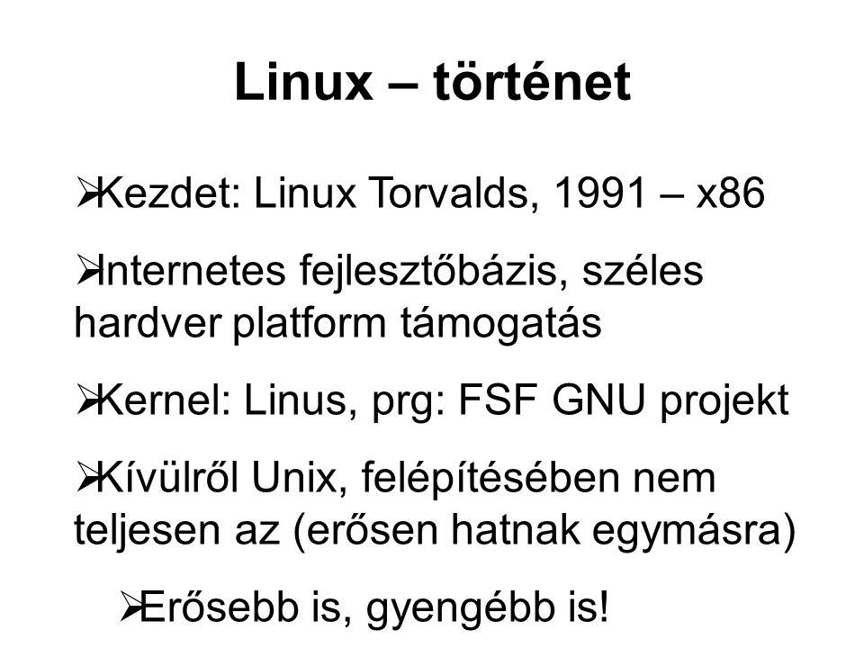 Linux – történet  Kezdet: Linux Torvalds, 1991 – x86  Internetes fejlesztőbázis, széles hardver platform támogatás  Kernel: Linus, prg: FSF GNU projekt  Kívülről Unix, felépítésében nem teljesen az (erősen hatnak egymásra)  Erősebb is, gyengébb is!