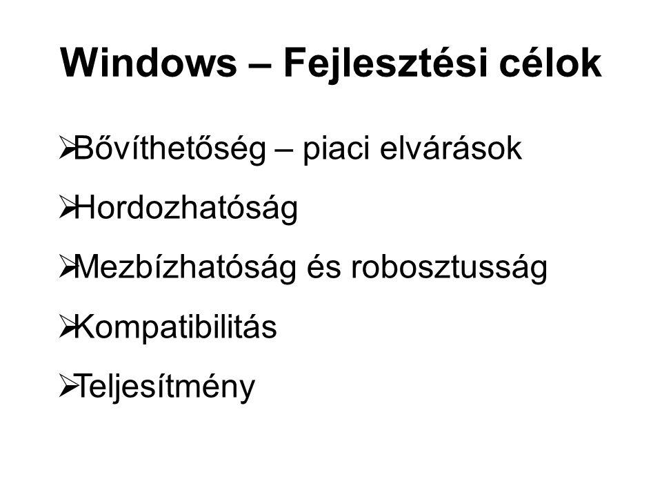 Windows – Fejlesztési célok  Bővíthetőség – piaci elvárások  Hordozhatóság  Mezbízhatóság és robosztusság  Kompatibilitás  Teljesítmény