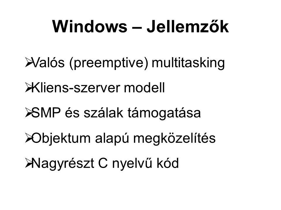 Windows – Jellemzők  Valós (preemptive) multitasking  Kliens-szerver modell  SMP és szálak támogatása  Objektum alapú megközelítés  Nagyrészt C nyelvű kód