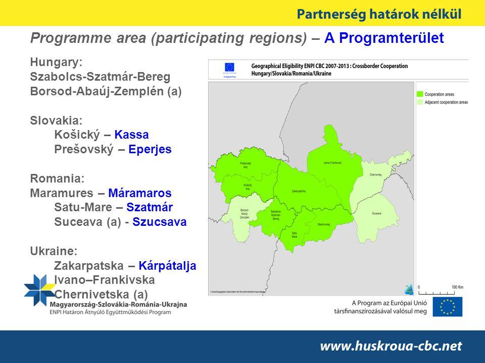 Programme area (participating regions) – A Programterület Hungary: Szabolcs-Szatmár-Bereg Borsod-Abaúj-Zemplén (a) Slovakia: Košický – Kassa Prešovský
