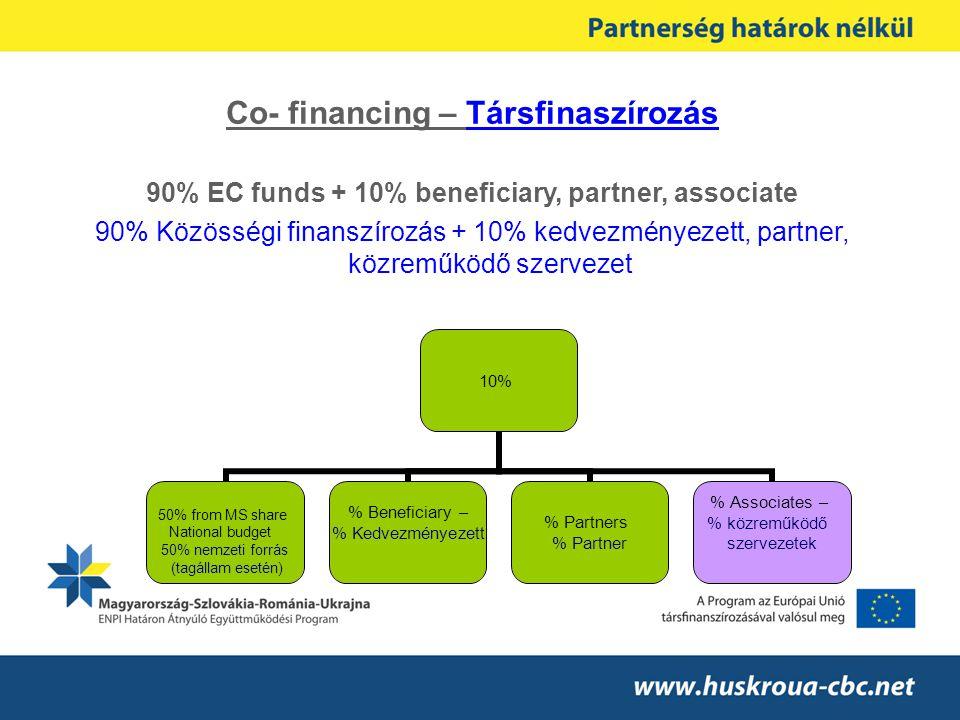 Co- financing – Társfinaszírozás 90% EC funds + 10% beneficiary, partner, associate 90% Közösségi finanszírozás + 10% kedvezményezett, partner, közrem