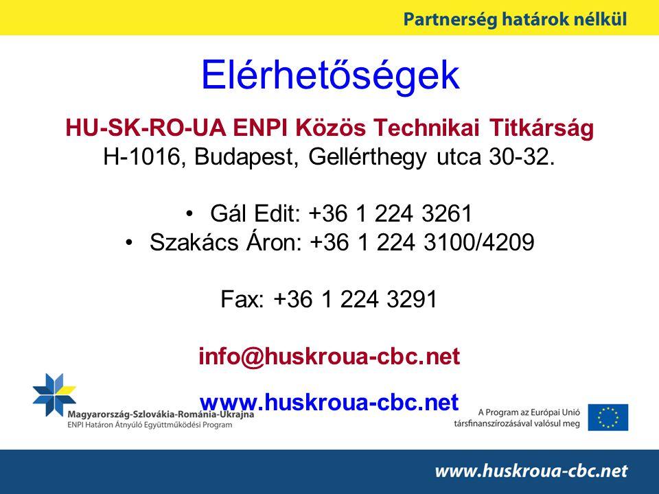 Elérhetőségek HU-SK-RO-UA ENPI Közös Technikai Titkárság H-1016, Budapest, Gellérthegy utca 30-32. •Gál Edit: +36 1 224 3261 •Szakács Áron: +36 1 224