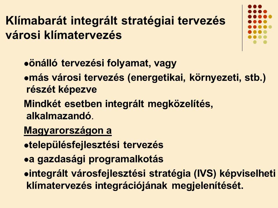  önálló tervezési folyamat, vagy  más városi tervezés (energetikai, környezeti, stb.) részét képezve Mindkét esetben integrált megközelítés, alkalma