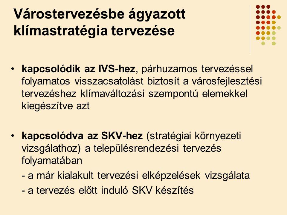 •kapcsolódik az IVS-hez, párhuzamos tervezéssel folyamatos visszacsatolást biztosít a városfejlesztési tervezéshez klímaváltozási szempontú elemekkel kiegészítve azt •kapcsolódva az SKV-hez (stratégiai környezeti vizsgálathoz) a településrendezési tervezés folyamatában - a már kialakult tervezési elképzelések vizsgálata - a tervezés előtt induló SKV készítés Várostervezésbe ágyazott klímastratégia tervezése