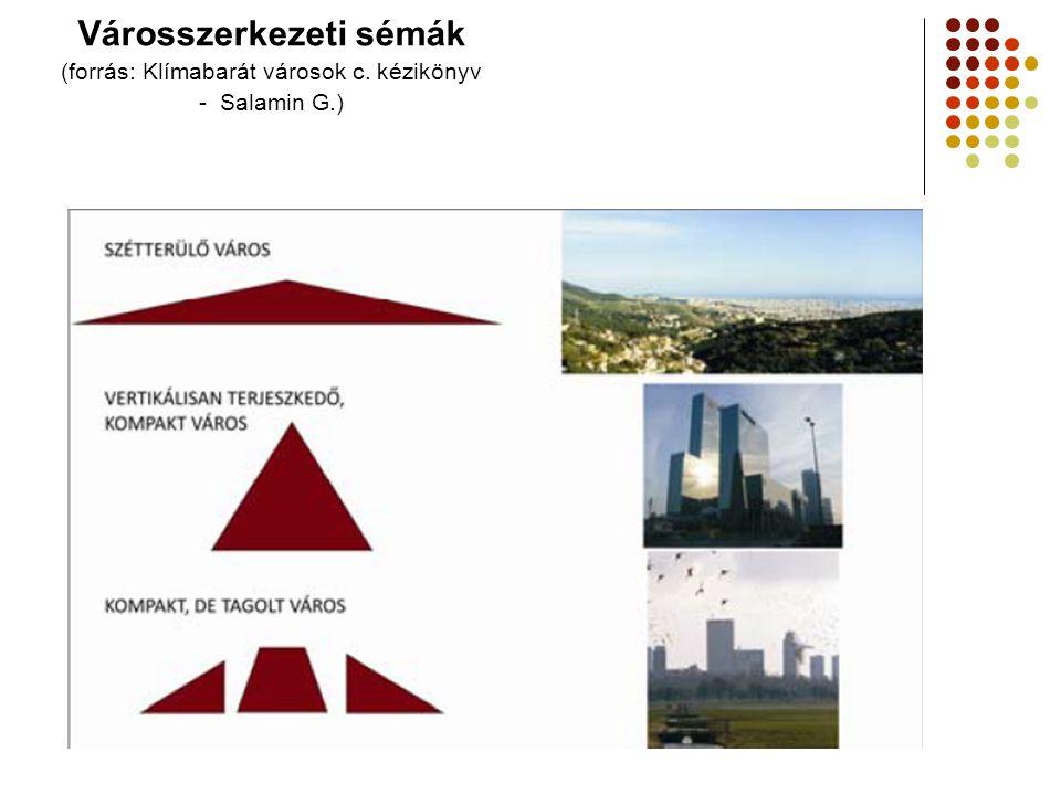 Városszerkezeti sémák (forrás: Klímabarát városok c. kézikönyv - Salamin G.)