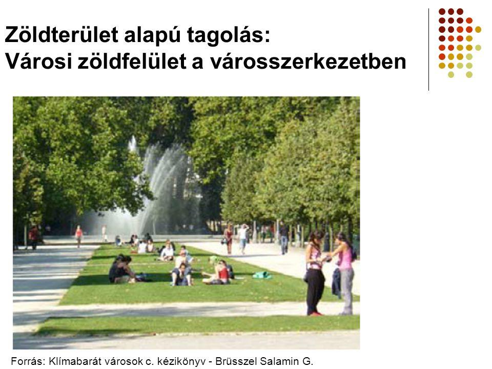 Zöldterület alapú tagolás: Városi zöldfelület a városszerkezetben Forrás: Klímabarát városok c. kézikönyv - Brüsszel Salamin G.
