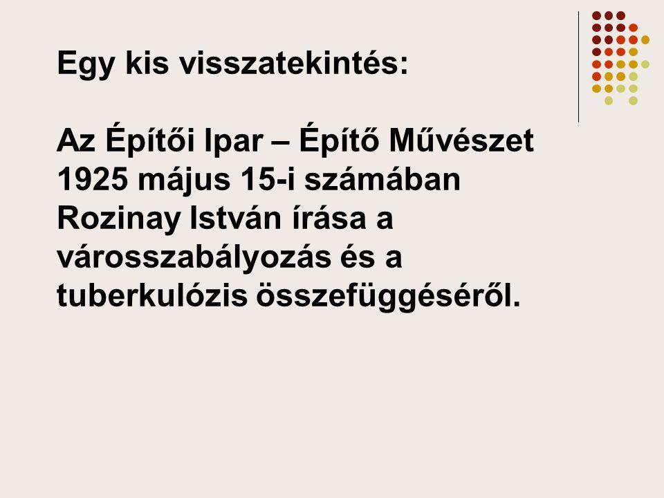 Egy kis visszatekintés: Az Építői Ipar – Építő Művészet 1925 május 15-i számában Rozinay István írása a városszabályozás és a tuberkulózis összefüggéséről.