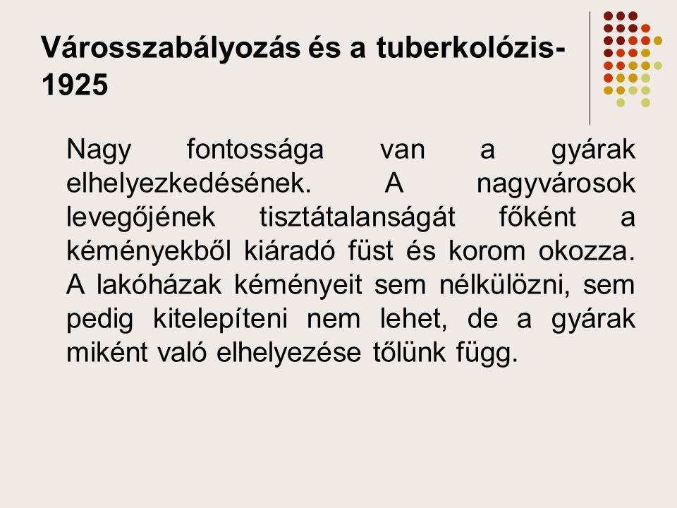 Városszabályozás és a tuberkolózis- 1925 Nagy fontossága van a gyárak elhelyezkedésének. A nagyvárosok levegőjének tisztátalanságát főként a kéményekb
