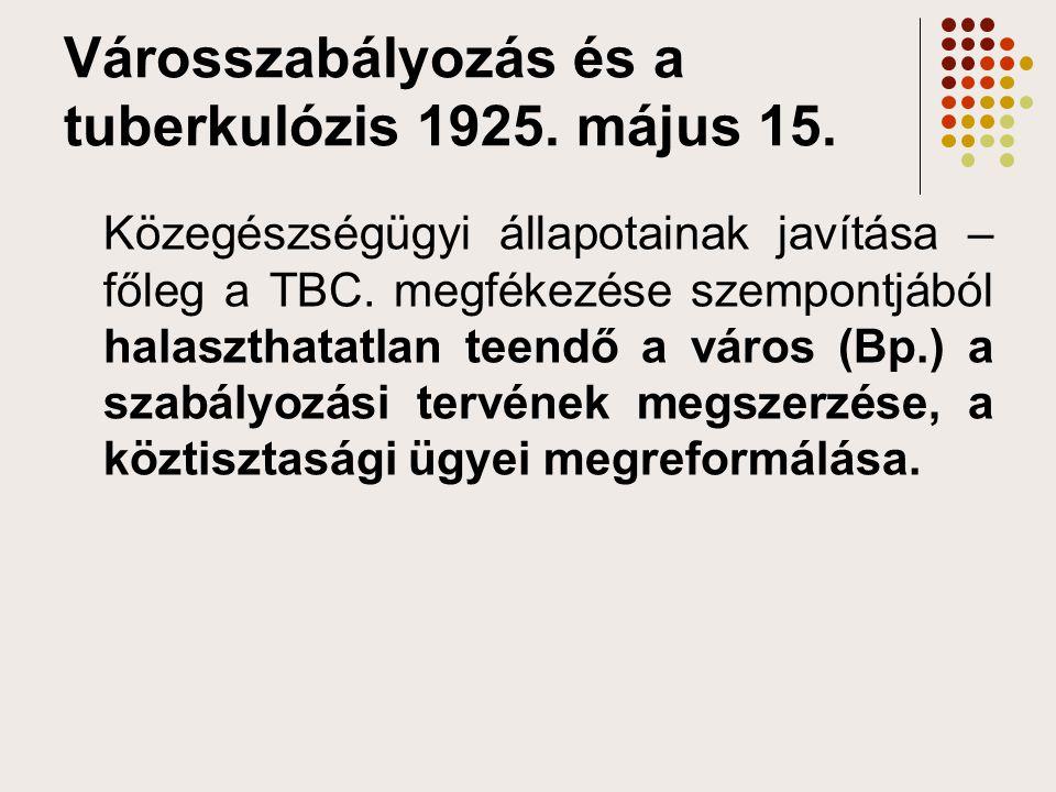 Városszabályozás és a tuberkulózis 1925. május 15. Közegészségügyi állapotainak javítása – főleg a TBC. megfékezése szempontjából halaszthatatlan teen