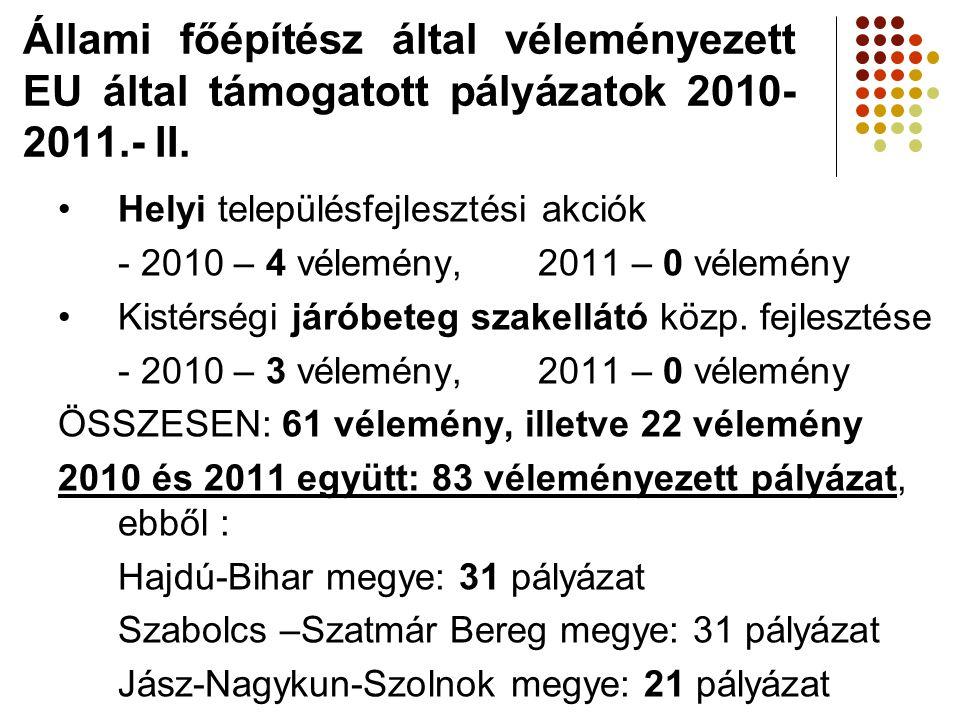•Helyi településfejlesztési akciók - 2010 – 4 vélemény,2011 – 0 vélemény •Kistérségi járóbeteg szakellátó közp. fejlesztése - 2010 – 3 vélemény,2011 –
