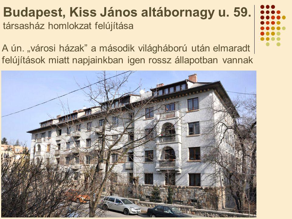 """Budapest, Kiss János altábornagy u. 59. társasház homlokzat felújítása A ún. """"városi házak"""" a második világháború után elmaradt felújítások miatt napj"""