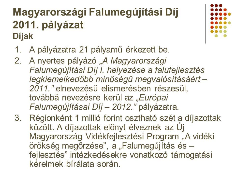 """Magyarországi Falumegújítási Díj 2011. pályázat Díjak 1.A pályázatra 21 pályamű érkezett be. 2.A nyertes pályázó """"A Magyarországi Falumegújítási Díj I"""
