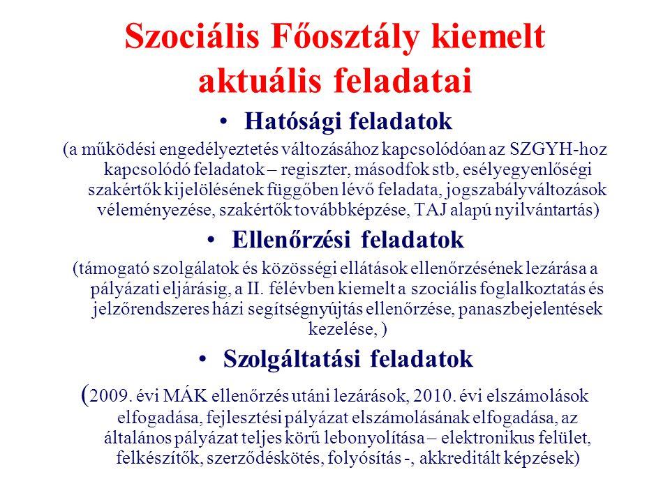Szociális Főosztály kiemelt aktuális feladatai •Hatósági feladatok (a működési engedélyeztetés változásához kapcsolódóan az SZGYH-hoz kapcsolódó felad