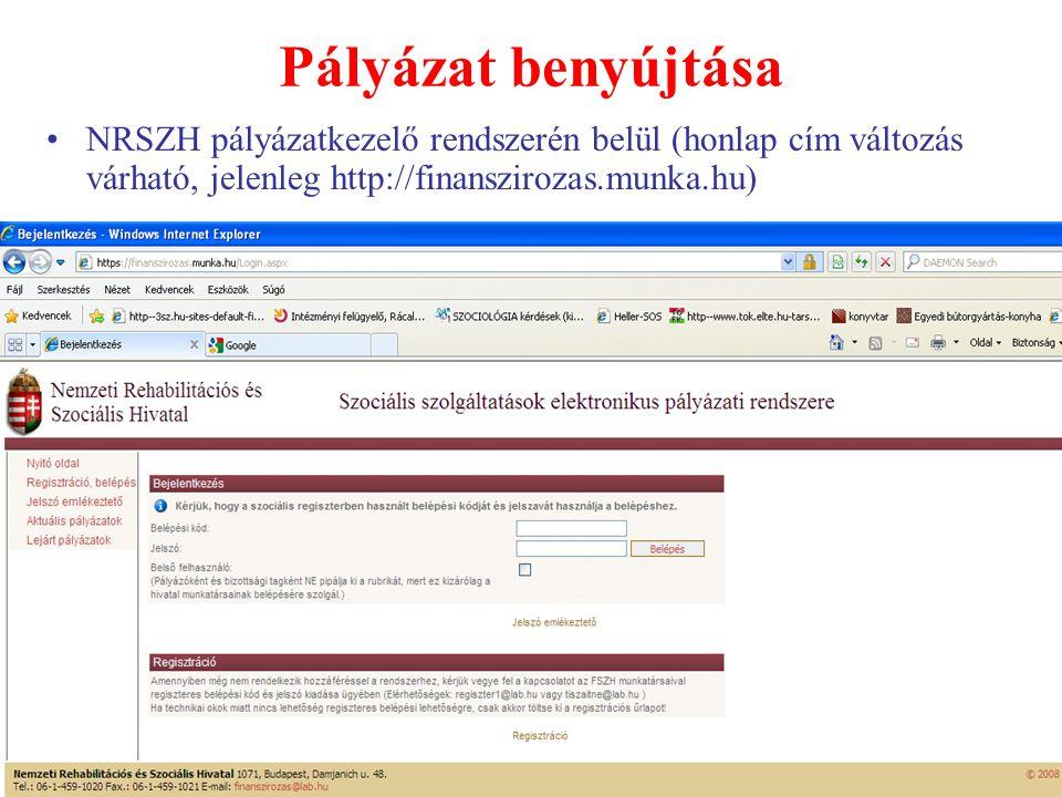 Pályázat benyújtása •NRSZH pályázatkezelő rendszerén belül (honlap cím változás várható, jelenleg http://finanszirozas.munka.hu)