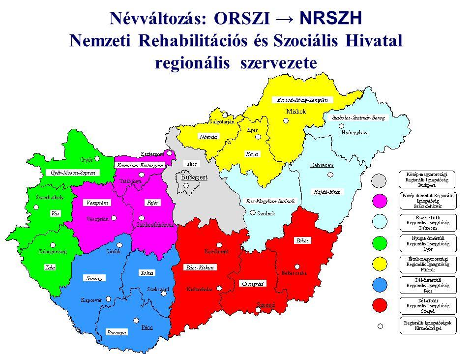 Névváltozás: ORSZI → NRSZH Nemzeti Rehabilitációs és Szociális Hivatal regionális szervezete