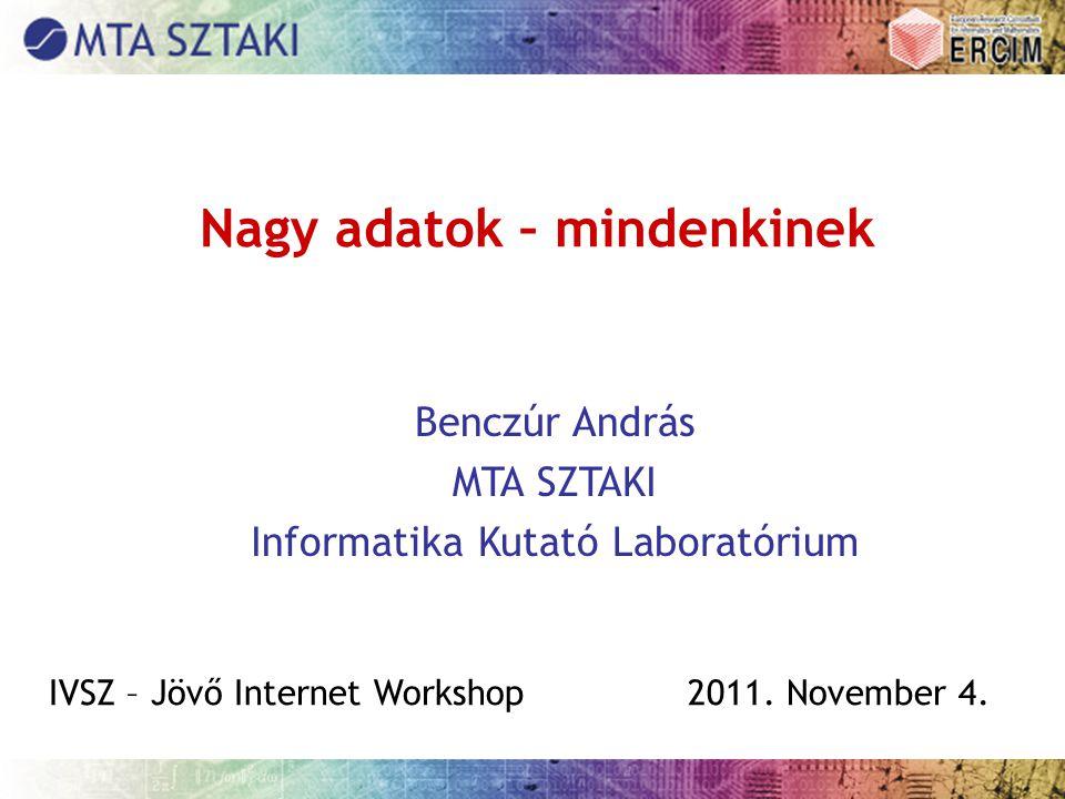Nagy adatok – mindenkinek Benczúr András MTA SZTAKI Informatika Kutató Laboratórium IVSZ – Jövő Internet Workshop2011.