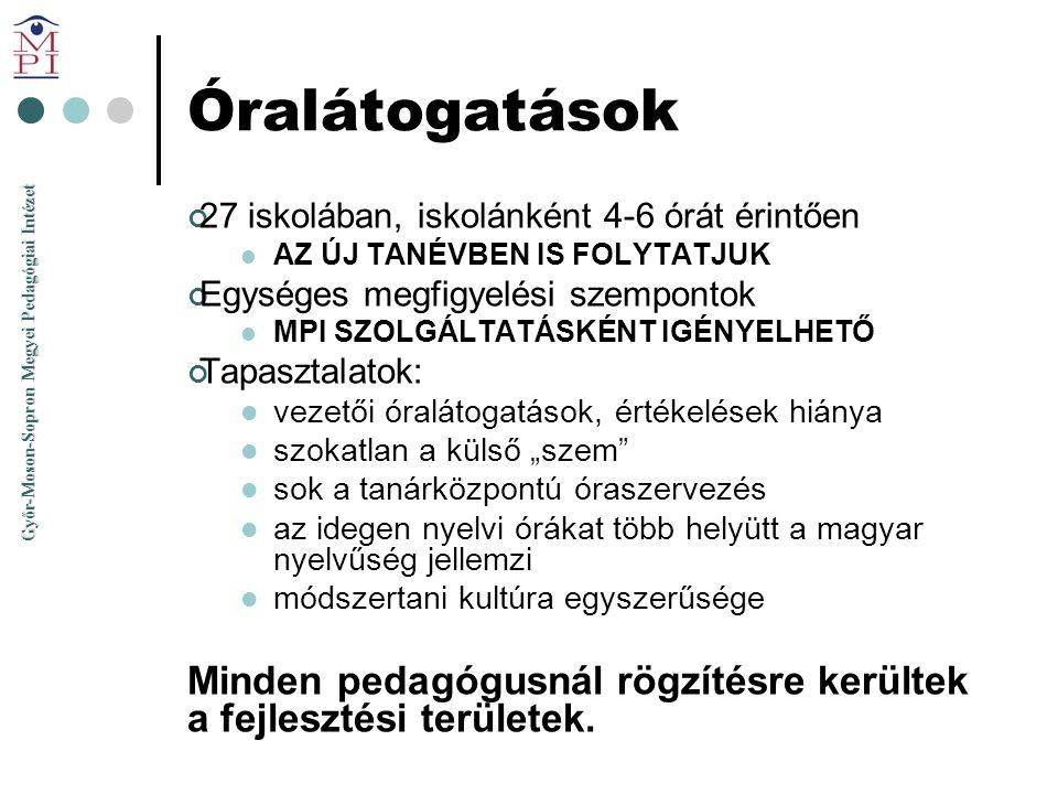 Győr-Moson-Sopron Megyei Pedagógiai Intézet Óralátogatások 27 iskolában, iskolánként 4-6 órát érintően  AZ ÚJ TANÉVBEN IS FOLYTATJUK Egységes megfigy