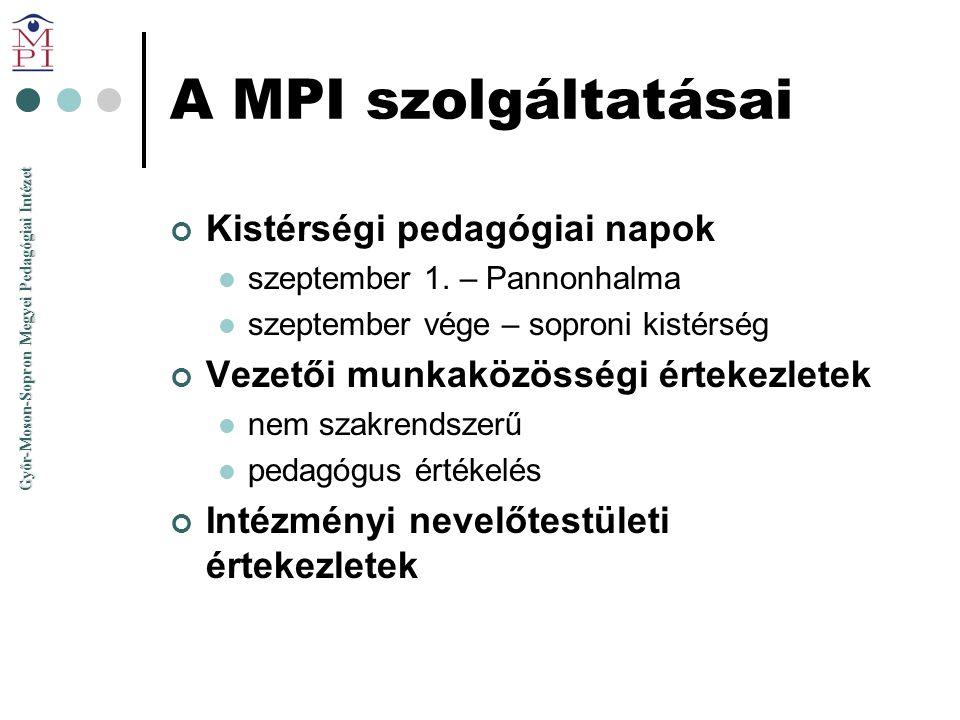 Győr-Moson-Sopron Megyei Pedagógiai Intézet A MPI szolgáltatásai Kistérségi pedagógiai napok  szeptember 1. – Pannonhalma  szeptember vége – soproni
