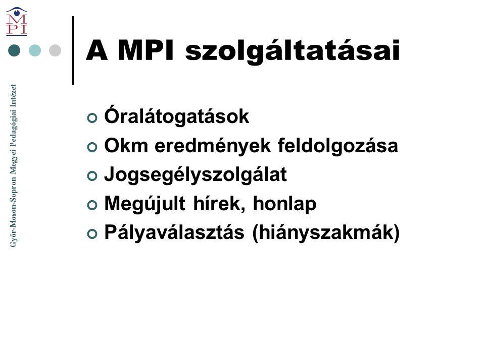 Győr-Moson-Sopron Megyei Pedagógiai Intézet A MPI szolgáltatásai Óralátogatások Okm eredmények feldolgozása Jogsegélyszolgálat Megújult hírek, honlap