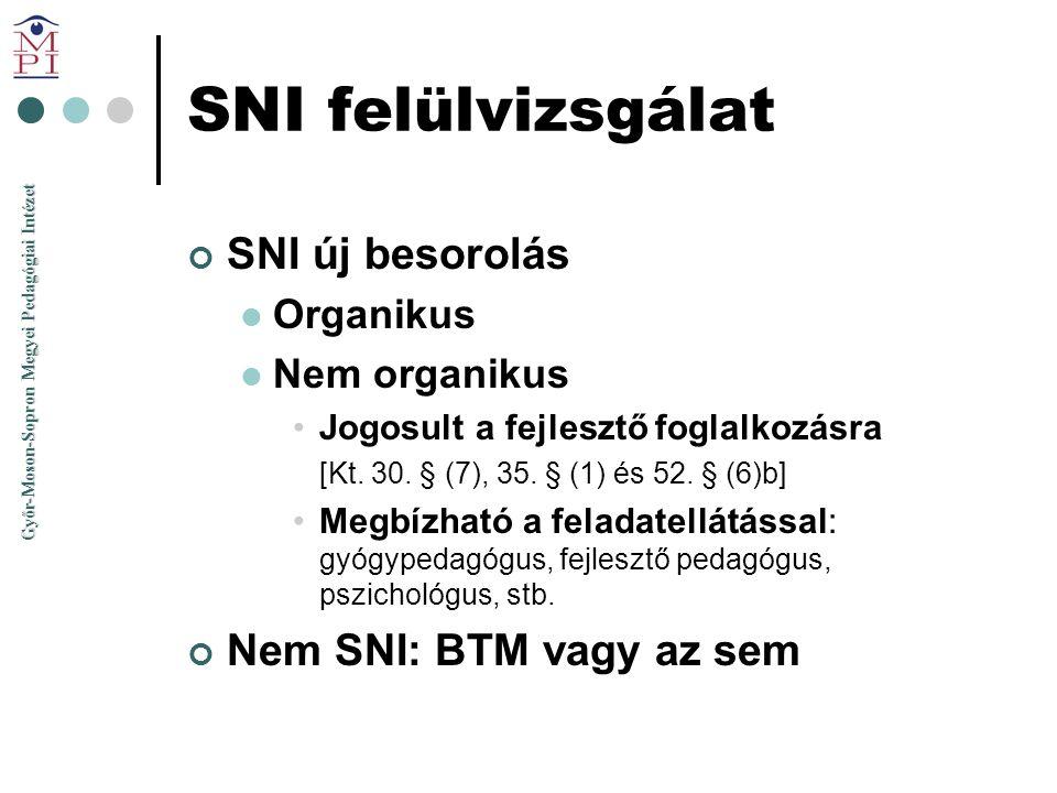 Győr-Moson-Sopron Megyei Pedagógiai Intézet SNI felülvizsgálat SNI új besorolás  Organikus  Nem organikus •Jogosult a fejlesztő foglalkozásra [Kt. 3