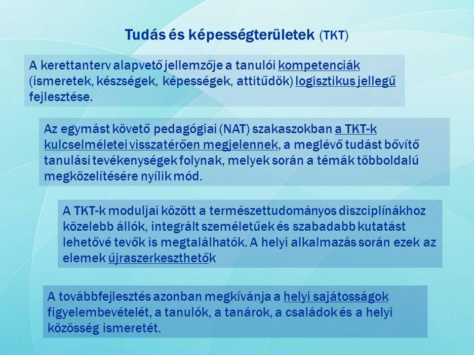 Tudás és képességterületek (TKT) A kerettanterv alapvető jellemzője a tanulói kompetenciák (ismeretek, készségek, képességek, attitűdök) logisztikus j