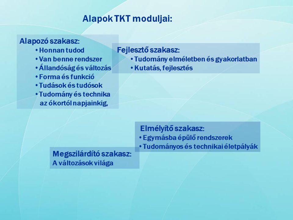 Alapok TKT moduljai: Alapozó szakasz: •Honnan tudod •Van benne rendszer •Állandóság és változás •Forma és funkció •Tudások és tudósok •Tudomány és tec