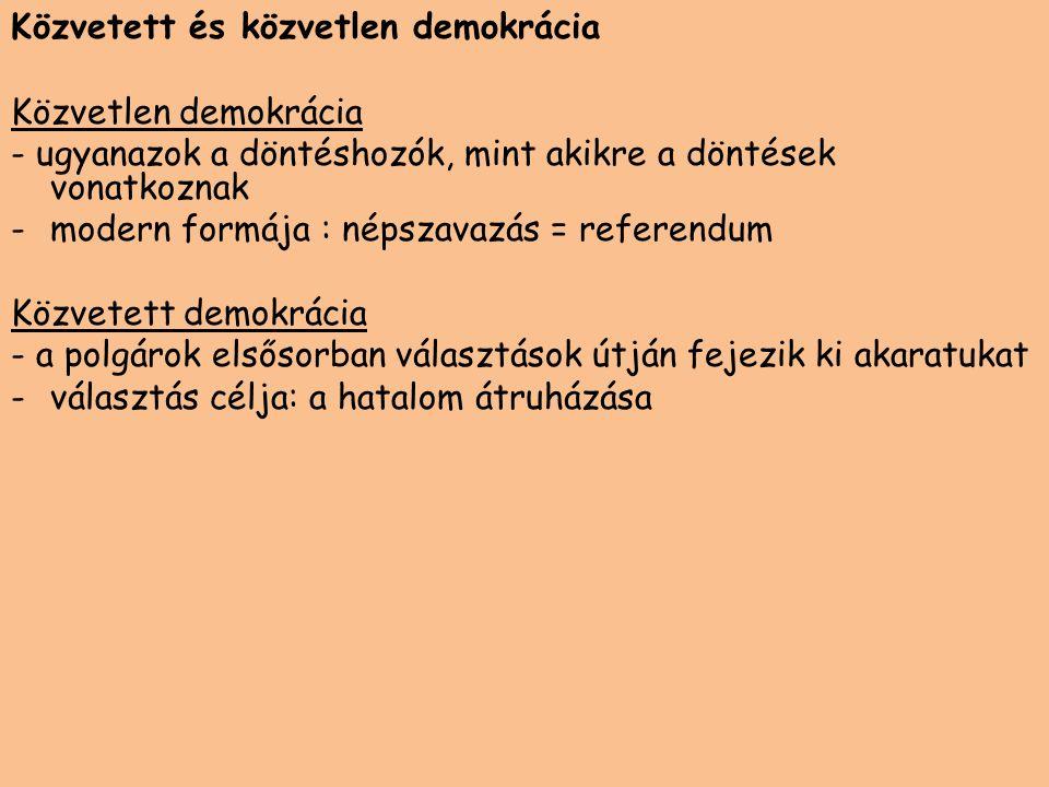 Közvetett és közvetlen demokrácia Közvetlen demokrácia - ugyanazok a döntéshozók, mint akikre a döntések vonatkoznak -modern formája : népszavazás = r