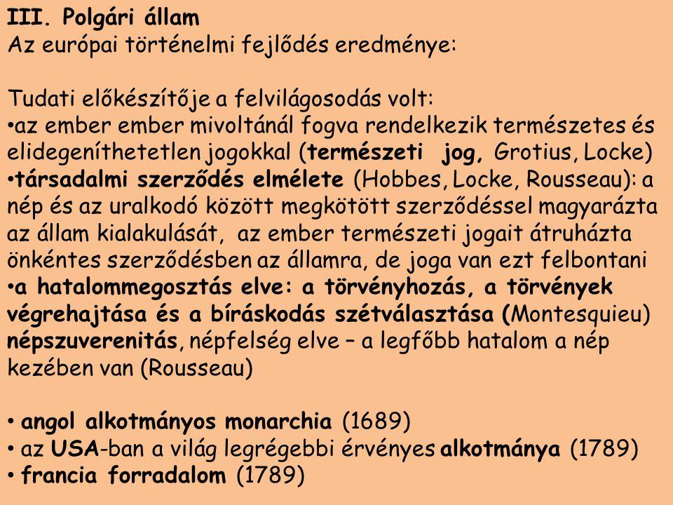 III. Polgári állam Az európai történelmi fejlődés eredménye: Tudati előkészítője a felvilágosodás volt: • az ember ember mivoltánál fogva rendelkezik