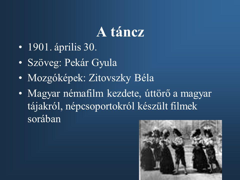 A táncz •1901. április 30. •Szöveg: Pekár Gyula •Mozgóképek: Zitovszky Béla •Magyar némafilm kezdete, úttörő a magyar tájakról, népcsoportokról készül