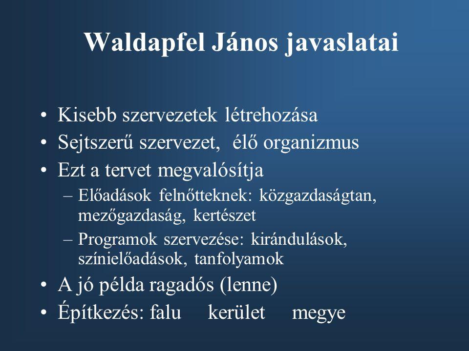 Waldapfel János javaslatai •Kisebb szervezetek létrehozása •Sejtszerű szervezet, élő organizmus •Ezt a tervet megvalósítja –Előadások felnőtteknek: kö