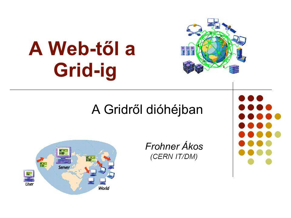 HTP, CERN, 2008-08-20Frohner Ákos, CERN/IT/DM42 Az LCG Grid elemei Számoló egység, Working Node Tároló egység, Storage Erőforrás és infó bróker Információs központ Tároló egység, Storage Munkafelügyelő, Computing Element Felhasználó