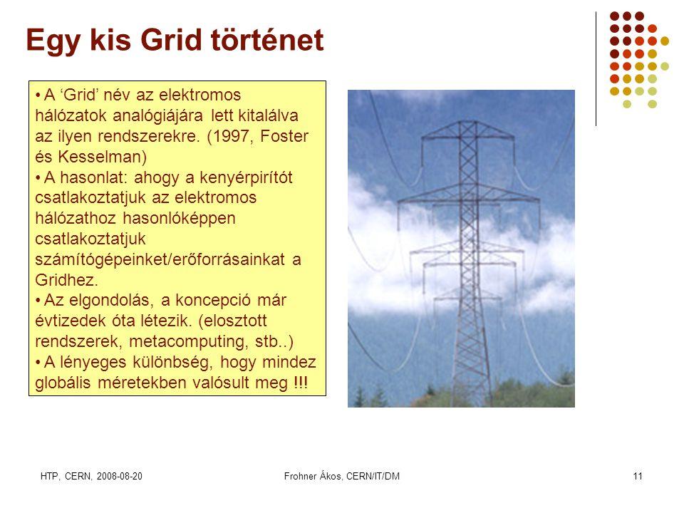 HTP, CERN, 2008-08-20Frohner Ákos, CERN/IT/DM11 Egy kis Grid történet • A 'Grid' név az elektromos hálózatok analógiájára lett kitalálva az ilyen rendszerekre.