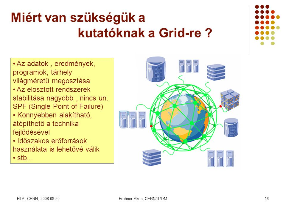 HTP, CERN, 2008-08-20Frohner Ákos, CERN/IT/DM16 Miért van szükségük a kutatóknak a Grid-re ? • Az adatok, eredmények, programok, tárhely világméretű m