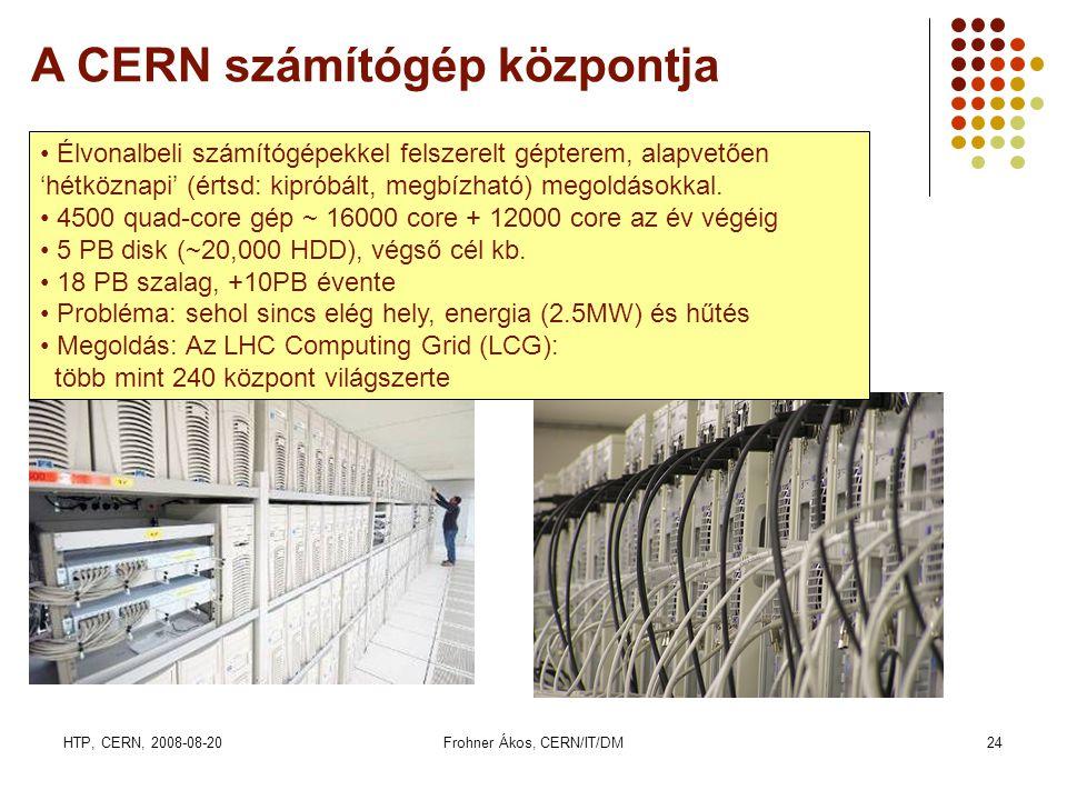 HTP, CERN, 2008-08-20Frohner Ákos, CERN/IT/DM24 A CERN számítógép központja • Élvonalbeli számítógépekkel felszerelt gépterem, alapvetően 'hétköznapi' (értsd: kipróbált, megbízható) megoldásokkal.