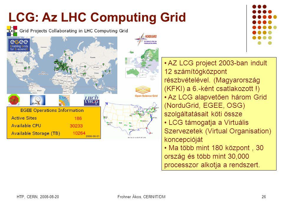 HTP, CERN, 2008-08-20Frohner Ákos, CERN/IT/DM26 LCG: Az LHC Computing Grid • AZ LCG project 2003-ban indult 12 számítógközpont részbvételével. (Magyar