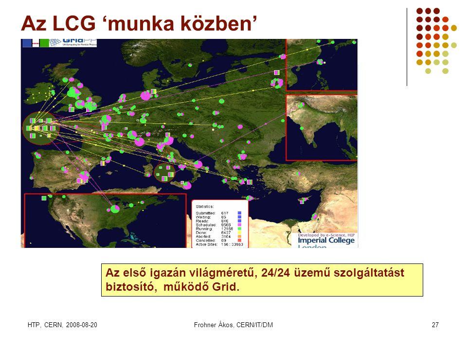 HTP, CERN, 2008-08-20Frohner Ákos, CERN/IT/DM27 Az LCG 'munka közben' Az első igazán világméretű, 24/24 üzemű szolgáltatást biztosító, működő Grid.
