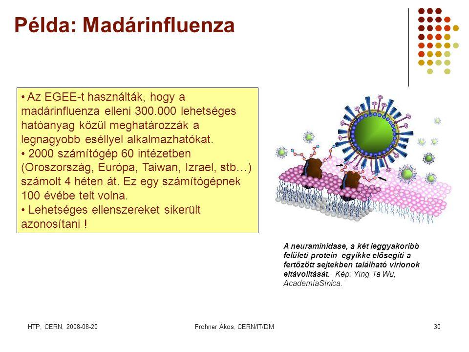 HTP, CERN, 2008-08-20Frohner Ákos, CERN/IT/DM30 Példa: Madárinfluenza A neuraminidase, a két leggyakoribb felületi protein egyikke elősegíti a fertőzö