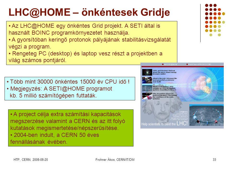 HTP, CERN, 2008-08-20Frohner Ákos, CERN/IT/DM33 LHC@HOME – önkéntesek Gridje • Az LHC@HOME egy önkéntes Grid projekt. A SETI által is használt BOINC p