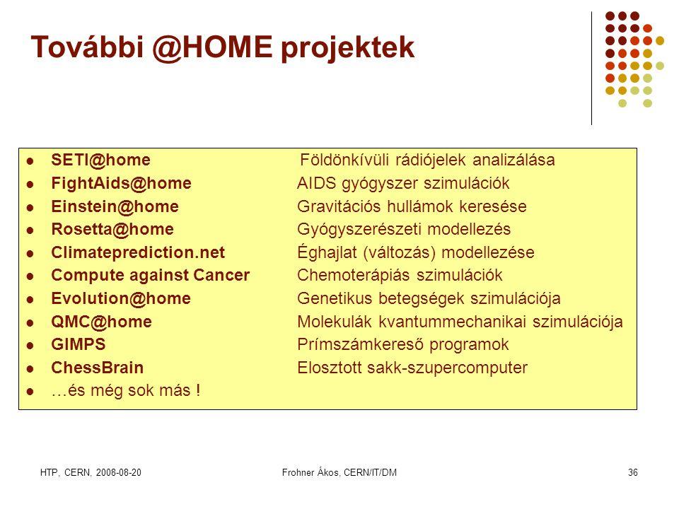 HTP, CERN, 2008-08-20Frohner Ákos, CERN/IT/DM36 SSETI@home Földönkívüli rádiójelek analizálása FFightAids@homeAIDS gyógyszer szimulációk EEinstein@homeGravitációs hullámok keresése RRosetta@homeGyógyszerészeti modellezés CClimateprediction.netÉghajlat (változás) modellezése CCompute against CancerChemoterápiás szimulációk EEvolution@homeGenetikus betegségek szimulációja QQMC@homeMolekulák kvantummechanikai szimulációja GGIMPSPrímszámkereső programok CChessBrainElosztott sakk-szupercomputer ……és még sok más .