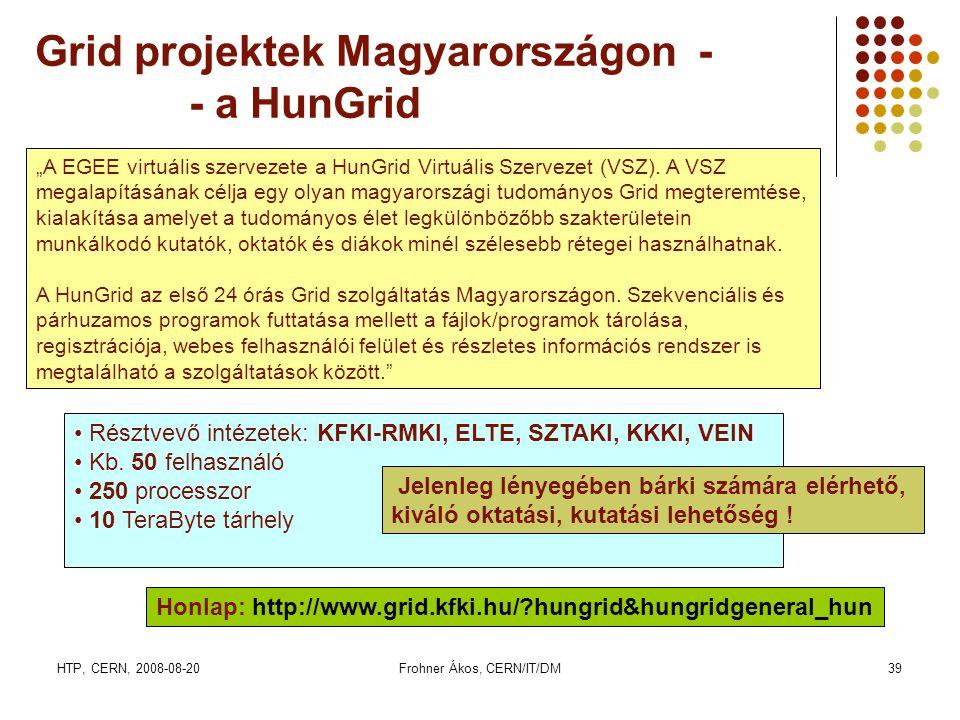 HTP, CERN, 2008-08-20Frohner Ákos, CERN/IT/DM39 Grid projektek Magyarországon - - a HunGrid • Résztvevő intézetek: KFKI-RMKI, ELTE, SZTAKI, KKKI, VEIN