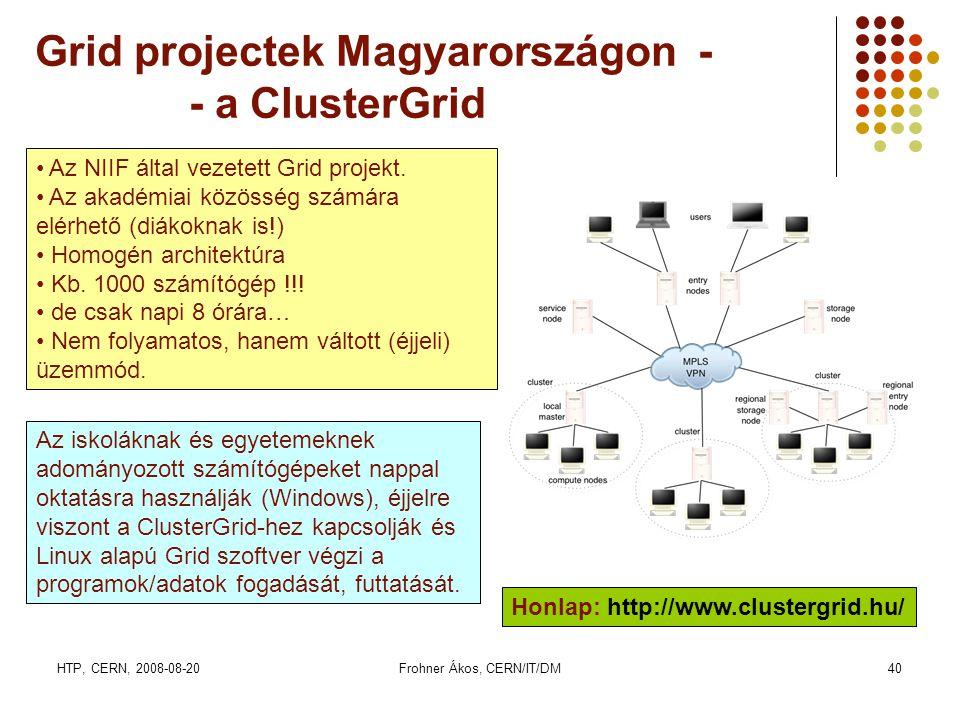 HTP, CERN, 2008-08-20Frohner Ákos, CERN/IT/DM40 Grid projectek Magyarországon - - a ClusterGrid Honlap: http://www.clustergrid.hu/ • Az NIIF által vez