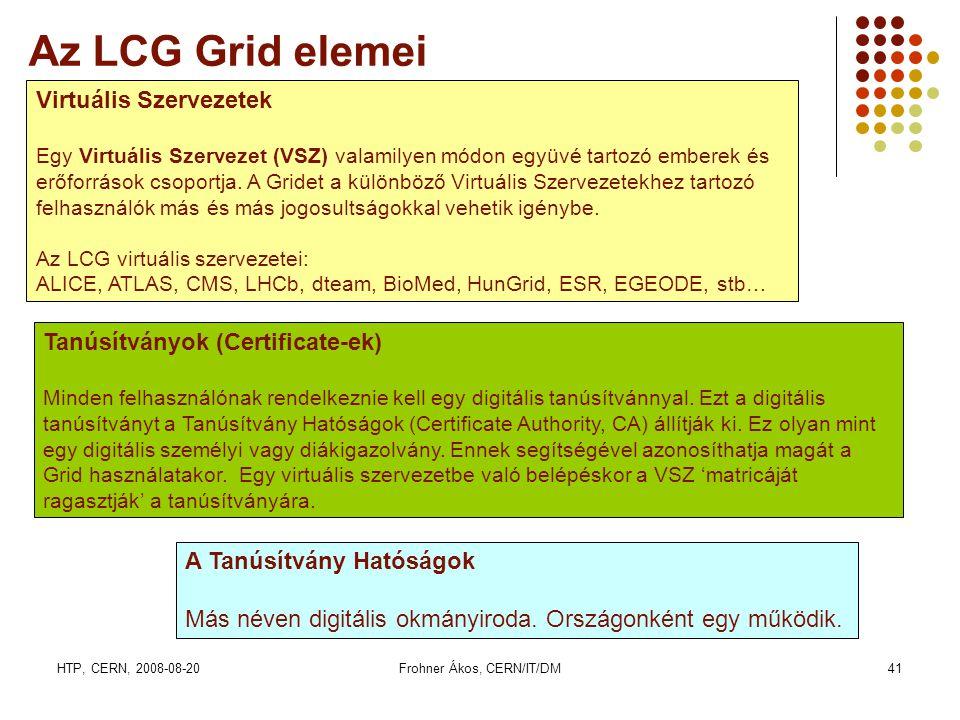 HTP, CERN, 2008-08-20Frohner Ákos, CERN/IT/DM41 Az LCG Grid elemei Virtuális Szervezetek Egy Virtuális Szervezet (VSZ) valamilyen módon együvé tartozó emberek és erőforrások csoportja.