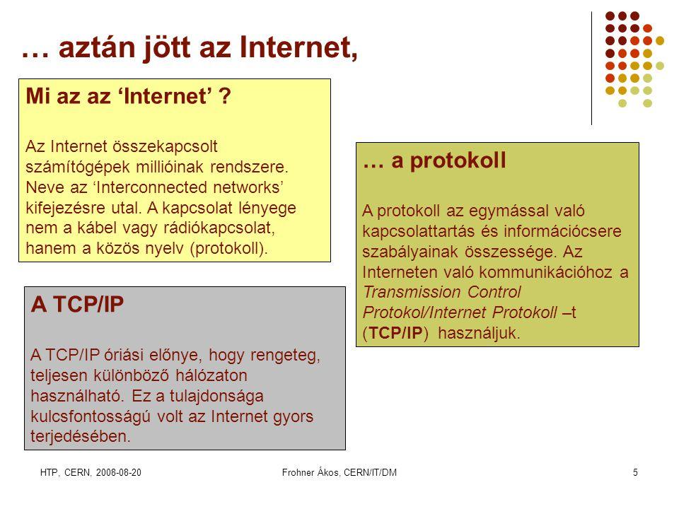 HTP, CERN, 2008-08-20Frohner Ákos, CERN/IT/DM26 LCG: Az LHC Computing Grid • AZ LCG project 2003-ban indult 12 számítógközpont részbvételével.