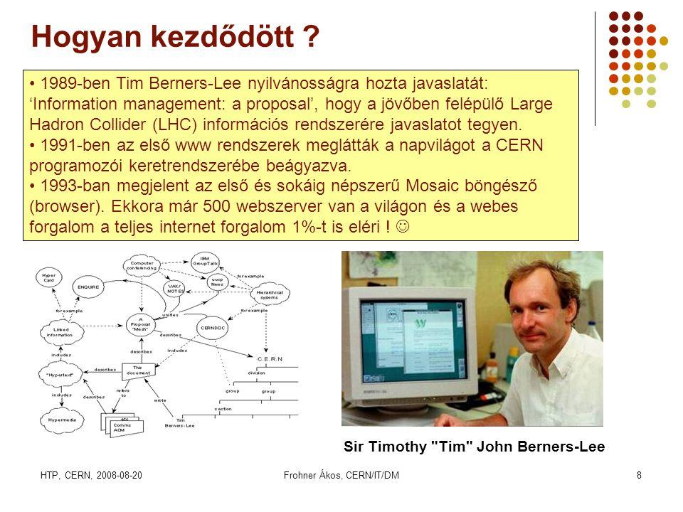 HTP, CERN, 2008-08-20Frohner Ákos, CERN/IT/DM8 Hogyan kezdődött ? • 1989-ben Tim Berners-Lee nyilvánosságra hozta javaslatát: 'Information management:
